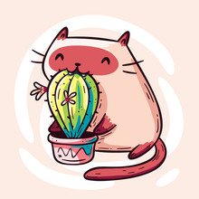 Funny Siamese Cat Eating Cactus Doodle. Cute Cartoon Character. Design For Print (t-shirt, Greeting Card, Poster, Sticker). Hand Drawn Vector Illustration.