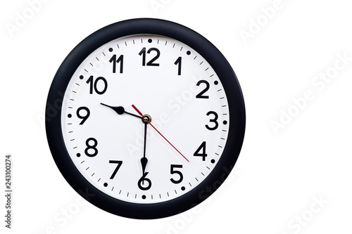 Photo  Time concept with black clock at half past nine am or pm