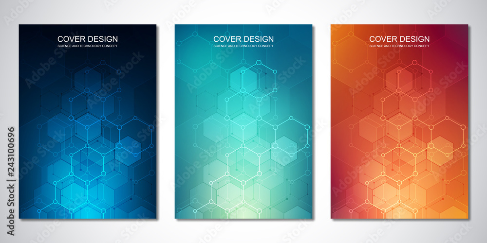Fototapeta Vector template for cover or brochure, with hexagons pattern and technological background. Abstract geometric texture and hi-tech digital background.