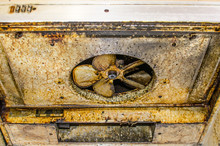 Dirty And Greasy Exhaust Fan Kitchen Hood.