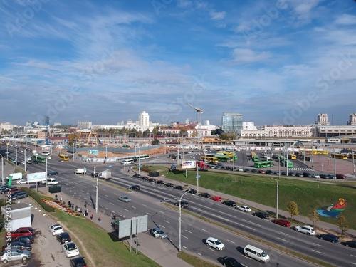 Poster Algérie Aerial photo of transport hub in Minsk, Belarus in autumn