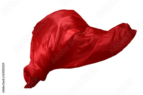 Aluminium Prints Fabric Abstract red flying fabric isolated on white background