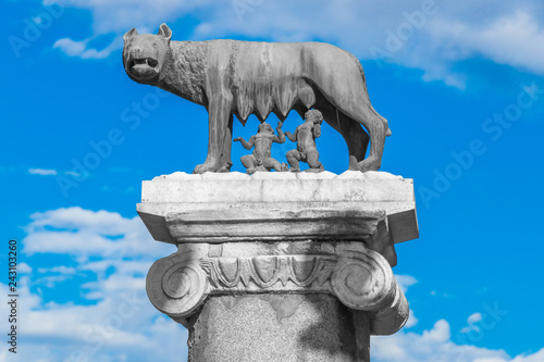 Fotografia, Obraz  The She-Wolf Statue Nursing Romulus and Remus, Founders of Rome