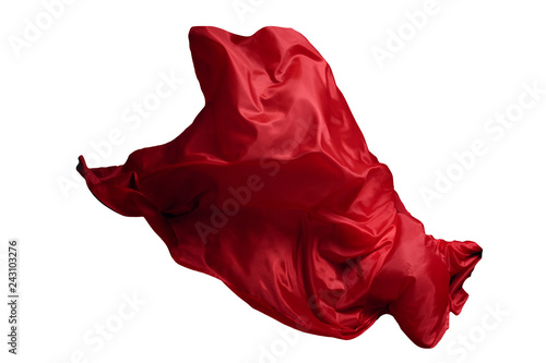 Photo sur Aluminium Tissu Abstract red flying fabric isolated on white background