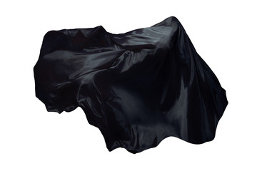 Abstract black flying fabric isolated on white background