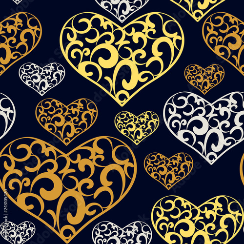 Photo  Abstract lace hearts seamless pattern