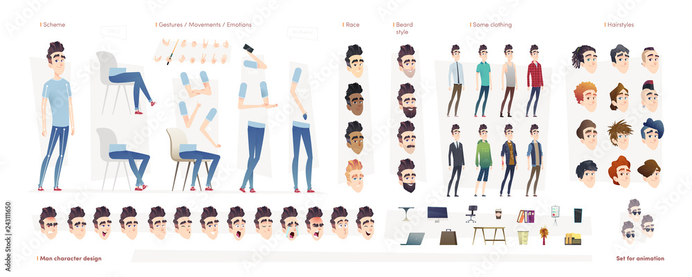 Fototapeta Young man character for your print, web and motion design. Creation kit. Set of flat male cartoon character body parts.