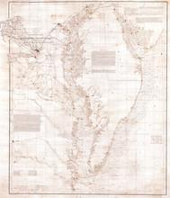 1855, U.S. Coast Survey Nautical Chart Or Map Of The Chesapeake Bay