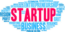 Startup Word Cloud On A White Background.