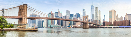 Amazing panorama view of New York city and Brooklyn bridge Wallpaper Mural