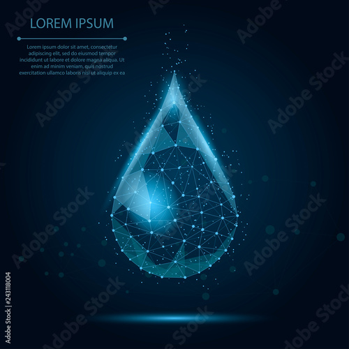 Fotografia, Obraz  Low poly wireframe water drop with dots and stars