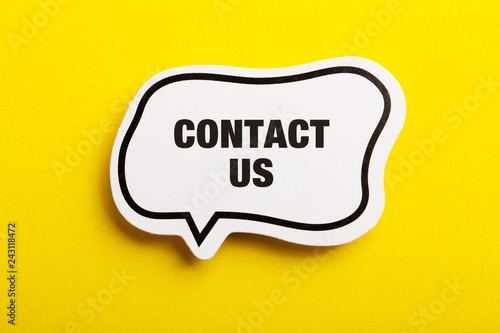 Fotografia, Obraz  Contact Speech Bubble Isolated On Yellow