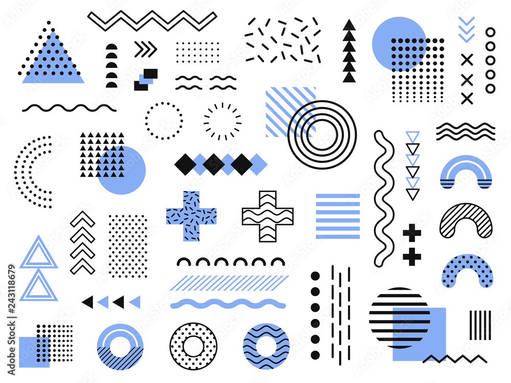 Fototapety, obrazy: Memphis design elements. Retro funky graphic, 90s trends designs and vintage geometric print illustration element vector collection