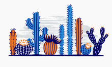 Mexican Desert Cactus. Cactuses Flower, Exotic Garden Plant And Tropical Cacti Flowers Isolated Vector Illustration