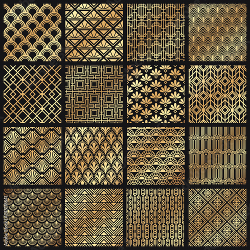 Art deco patterns. Decorative golden lines, angular line frame and 1920 arts gold pattern vector set