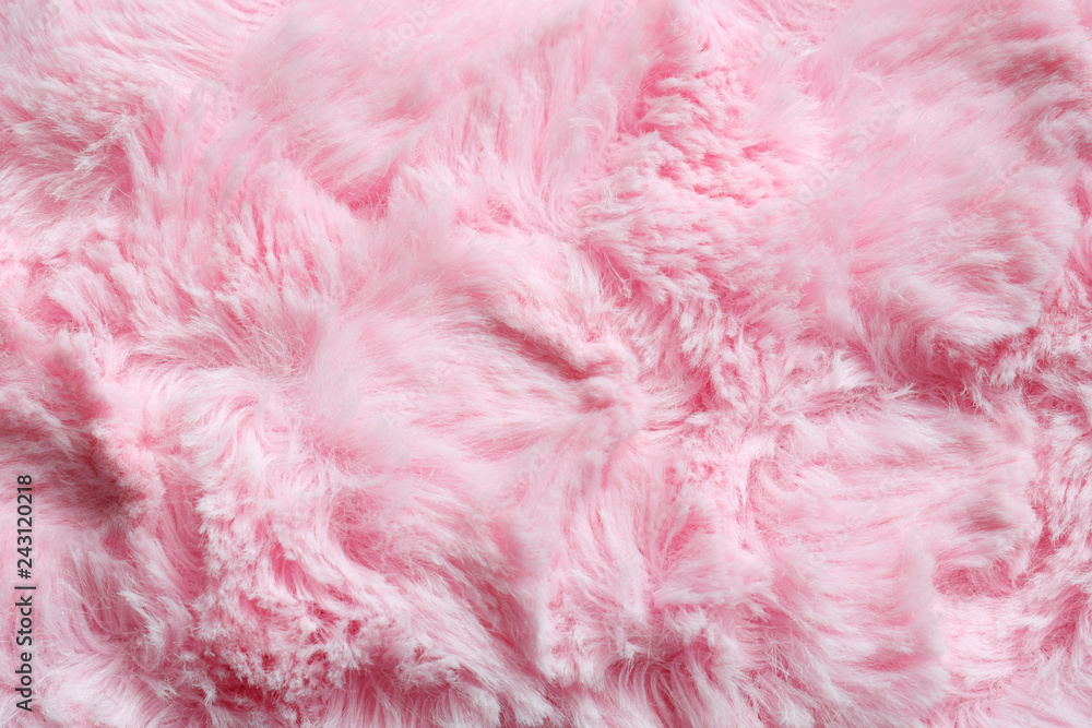 Pink fur background. Surface wool texture. Copy space for your text