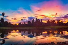 Angkor Wat Temple At Sunrise. Siem Reap. Cambodia. Panorama