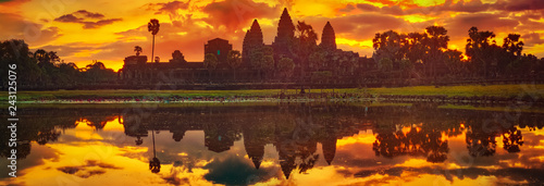 Angkor Wat temple at sunrise. Siem Reap. Cambodia. Panorama Wallpaper Mural