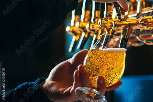 Tela  Close up of bartender pouring draft beer in glass