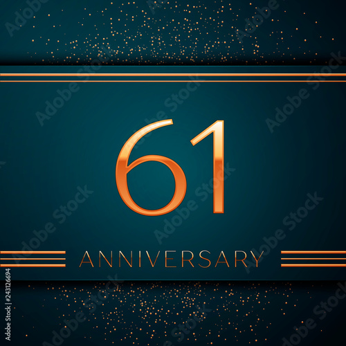 Photo  Realistic Sixty one Years Anniversary Celebration design banner