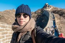 Traveler Man Is Selfie  In Gre...