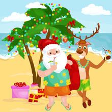 Cheerful Cartoon Christmas Friends Together On Sunny Beach