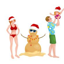 Cartoon Family Having Fun With Snowman Made Of Sand