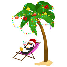 Cartoon Penguin Laying In Hammock Under Palm Tree Decorated Garland