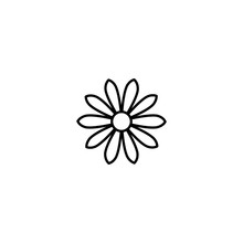 Outline Flat Icon Of Daisy Flower. Line Sign Isolated On White. Vector