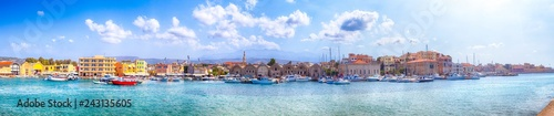 Travel Concepts and ideas. Panoramic Image of Chania Old City and Ancient Venetian Port Taken From Lighthouse Pier in Crete, Greece.