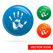 Hand Print Icon On White Backg...