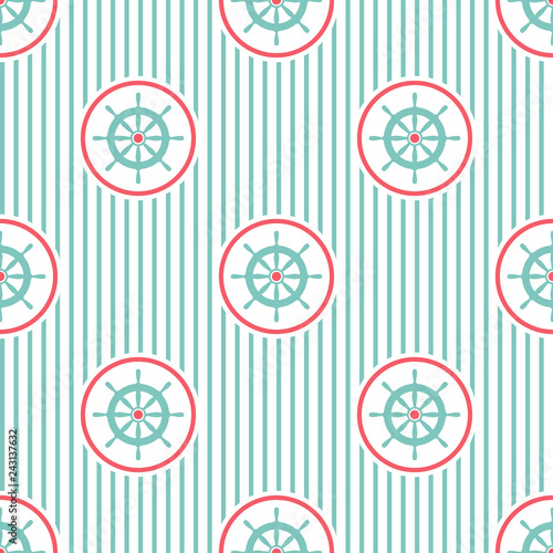 Nautical seamless striped pattern with blue helms on white Wallpaper Mural