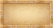 Vector Rectangle Brown Bamboo Poles Frame With Vintage Papyrus Or Canvas.