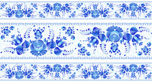 Blue Painted Flowers In Russian Gzhel Style Vector Seamless Lines Patterns Borders Set On White Background