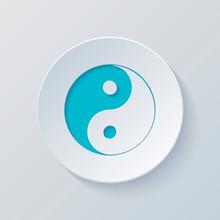 Yin Yan Symbol. Cut Circle With Gray And Blue Layers. Paper Styl