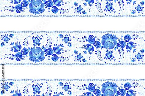 Blue painted flowers in Russian gzhel style vector seamless lines pattern tile w Fototapeta