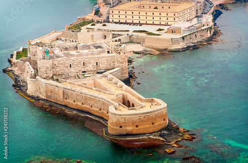 Aerial view of Maniace fortress in Ortigia, Syracuse Sicily