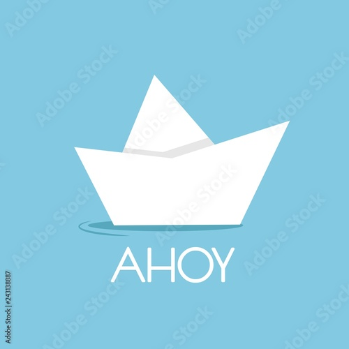 folded paper boat isolated on blue with word ahoy Canvas Print