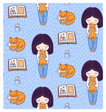 Blonde Girls, Books, Ginger Cats, Kittens And Tea Cup. Vector Illustration For Kids, Children, Babies.