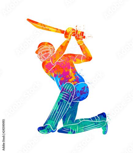 Stampa su Tela Abstract batsman playing cricket from splash of watercolors