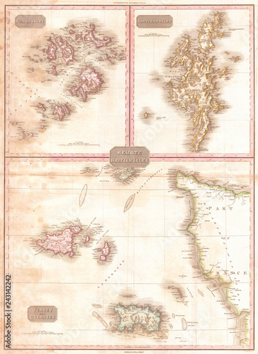 Map Of Uk Including Jersey.1818 Pinkerton Map Of Jersey Guernsey Scilly And Shetland