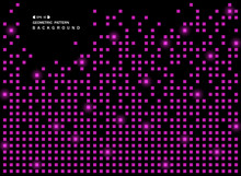 Abstract Of Shiny Purple Square Geometric Pattern On Black Background, Vector Eps10