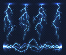 Realistic Lightnings. Electric...