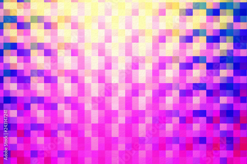Fotografie, Obraz  Abstract square blocks shapes gradient pattern background