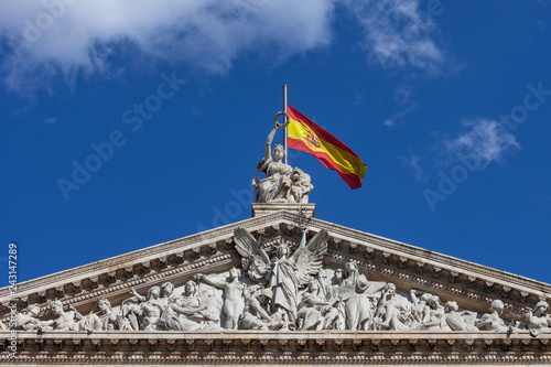 Fotografía  Pediment of the National Library of Spain in Madrid