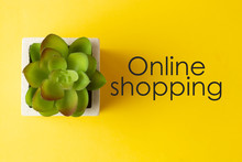 Online Shopping Words, Inscription Written Over Yellow Background With A Decorative Plant, Succulet. Top View.