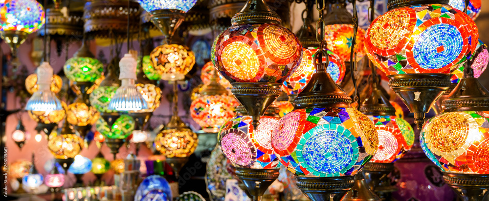 Fototapety, obrazy: Stained glass lamps in Grand Bazaar, Istanbul, Turkey