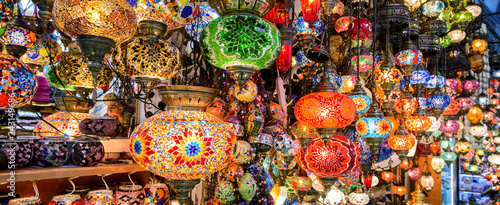 Fotografia  Beautiful lamps in Grand Bazaar, Istanbul, Turkey