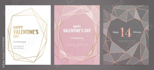 Fototapeta Valentines Day poster Luxury template with gold frame. Invitation template. Geometric shape. obraz na płótnie