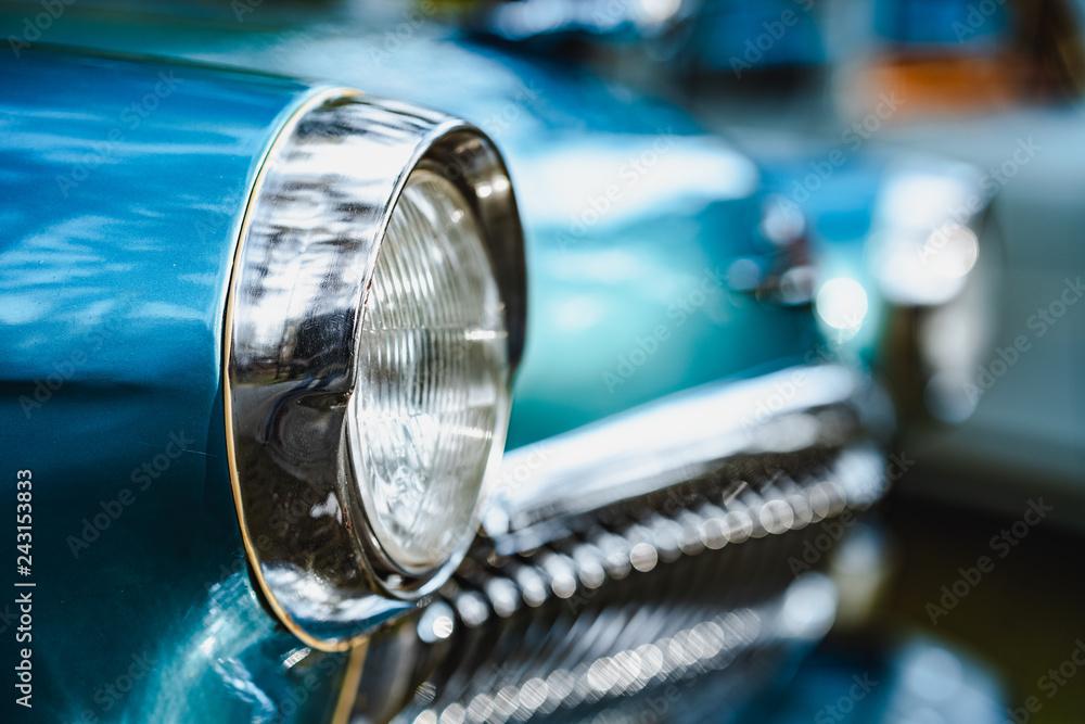 Fototapety, obrazy: Soviet blue car headlights